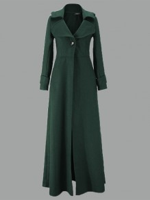 Dark Green Buttons Turndown Collar Long Sleeve Elegant Coat