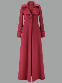 Wine Red Buttons Turndown Collar Long Sleeve Elegant Coat