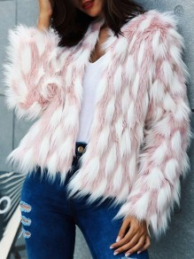 Pink White Patchwork Faux Fur Collarless Fashion Outerwear