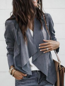 Grey Irregular Long Sleeve Fashion Cotton Coat