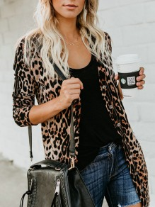 Light Coffee Buttons Collarless Long Sleeve Fashion Coat