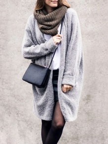 Grey Draped No Buttons Fur Plus Size Slouchy Casual Coat