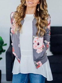 Grey Floral Print Zipper Pockets Round Neck Long Sleeve Casual Coat