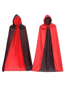 Red-Black Double-deck Drawstring Multi Way Robe Style Novelty Halloween Party Hooded Cloak Outerwear