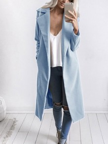 Blue Long Sleeve Tailored Collar Sweet Going out Casual Outerwear