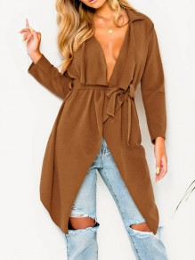 Brown Sashes Irregular Turndown Collar Long Sleeve Fashion Cardigan Coat