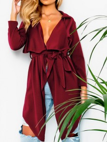 Burgundy Sashes Irregular Turndown Collar Long Sleeve Fashion Cardigan Coat