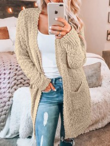 Khaki Pockets Fuzzy Fur Casual Fashion Cardigan Sweater