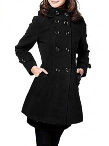 Black Pockets Double Breasted Hooded Long Sleeve Elegant Military Peacoat Wool Coat