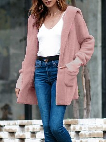 Pink Patchwork Pockets Hooded Long Sleeve Casual Outerwear