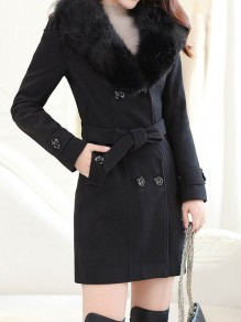 Black Patchwork Fur Bow Sashes Buttons Turndown Collar Long Sleeve Elegant Coat