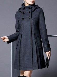 Dark Grey Pockets Buttons Hooded Fashion Outerwear