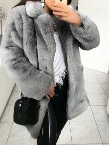 Light Grey Pockets Faux Fur Turndown Collar Long Sleeve Oversize Coat