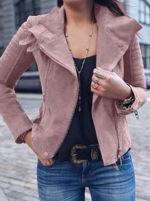 Pink Zipper Turndown Collar Long Sleeve Fashion Cardigan Coat
