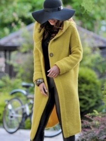Yellow Buttons Long Sleeve Casual Going out Sweet Outerwear