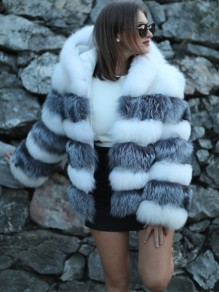 White Grey Striped Pockets Hooded Faux Fur Fashion Outerwear