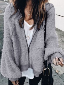 Grey Zipper Hooded Long Sleeve Fashion Cardigan Coat
