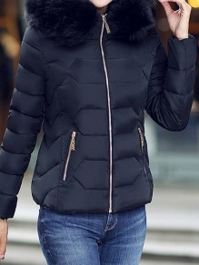 Black Patchwork Fur Pockets Zipper Hooded Long Sleeve Casual Coat