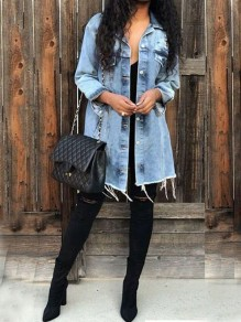 Light Blue Distressed Buttons Pockets Long Sleeve Casual Denim Jacket