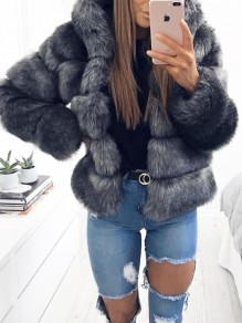 Dark Grey Fuzzy Faux Rabbit Fur Hooded Bubble Fur Coat Long Sleeve Casual Outerwear