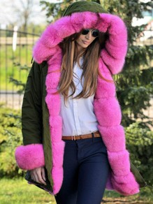 Army Green Patchwork Fur Pockets Hooded Long Sleeve Fashion Coat