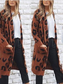 Coffee Leopard Print No Buttons Pockets Long Sleeve Casual Sweaters Cardigan