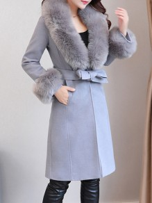 Grey Faux Fur Belt Pockets Fur Collar Fashion Outerwear