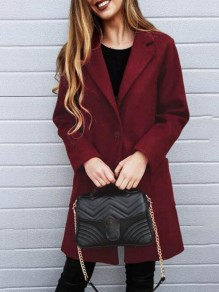 Wine Red Pockets Buttons Turndown Collar Fashion Coat