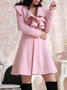 Pink Ruffle Turndown Collar Long Sleeve Going out Coat