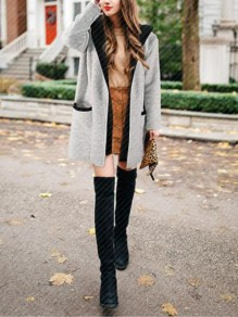 Grey Pockets Hooded Long Sleeve Fashion Going out Cardigan Coat