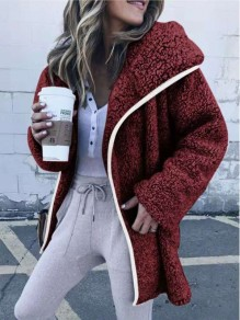 Date Red Pockets Hooded Long Sleeve Teddy Lambswool Fur Fluffy Casual Outerwear