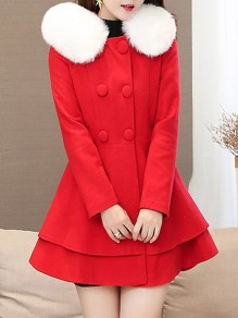 Red Patchwork Fur Pockets Bow Ruffle Double Breasted Hooded Long Sleeve Elegant Coat