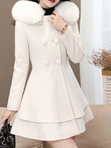 White Patchwork Fur Pockets Bow Ruffle Double Breasted Hooded Long Sleeve Elegant Coat