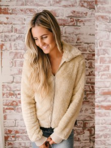 Apricot Zipper Turndown Collar Long Sleeve Going out Outerwear