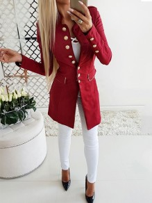 Red Single Breasted Pockets Turndown Collar Fashion Outerwear