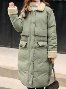 Green Pockets Turndown Collar Long Sleeve Going out Coat
