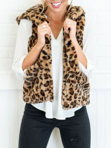 Leopard Print Pockets Hooded Fuzzy Fur Teddy Casual Vest