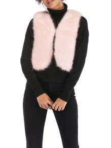 Pink Fur V-neck Comfy Going out Outerwear