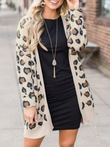 Yellow Leopard Pockets Print Long Sleeve Going out Outerwear