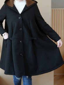 Black Pockets Buttons Plus Size Hooded Long Sleeve Oversized Coat