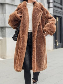 Camel Faux Fur Pockets Buttons Turndown Collar Long Sleeve Elegant Teddy Coat