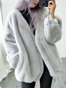 Grey Fur Pockets V-neck Long Sleeve Elegant Coat