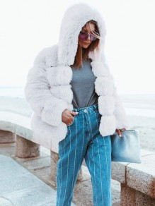 White Fur Hooded Long Sleeve Elegant Coat