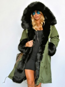 Army Green Black Patchwork Drawstring Pockets Faux Fur Hooded Parka Outerwear