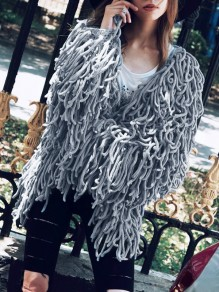 Grey Tassel V-neck Long Sleeve Fashion Faux Fur Coat