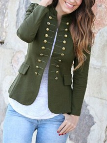 Army Green Pockets Double Breasted Band Collar Long Sleeve Elegant Coat