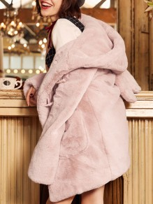 Pink Cartoon Pockets Single Breasted Hooded Long Sleeve Cute Faux Fur Coat