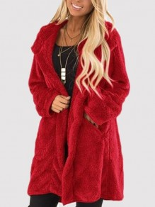 Red Pockets Turndown Collar Long Sleeve Oversize Casual Coat