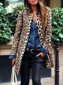 Yellow Leopard Print Round Neck Long Sleeve Fashion Coat