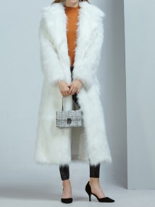 White Pockets Turndown Collar Long Sleeve Fashion Faux Fur Coat